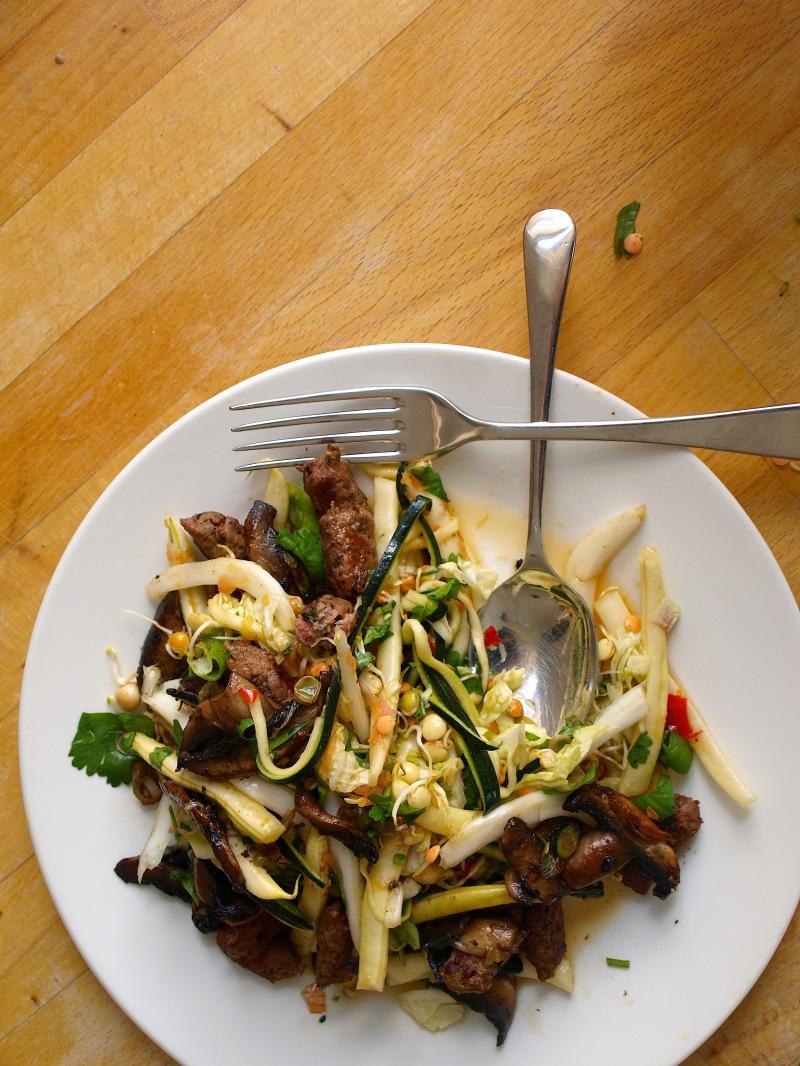 aromatic sausage salad